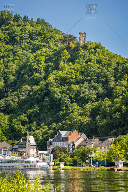 June 14, 2015: Moselle romanticism near Traben-Trarbach, Trarbach district, waterfront with Art Nouveau buildings, Germany
