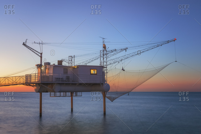 Trabucco, modern fishing platforms that protrude into the Adriatic Sea, Marina di Ravenna, Adriatic Coast