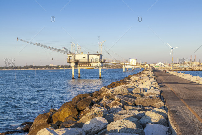 August 24, 2016: Trabucco, modern fishing platforms that protrude into the Adriatic Sea, Marina di Ravenna, Adriatic Coast, Emilia Romagna
