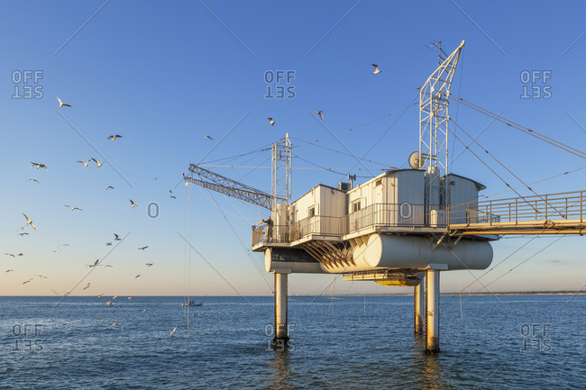 Trabucco, modern fishing platforms that protrude into the Adriatic Sea, Marina di Ravenna, Adriatic Coast, Emilia Romagna