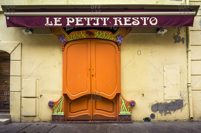 November 27, 2019: Art Nouveau restaurant entrance in Collioure, France