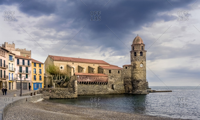 November 27, 2019: Eglise Notre Dame des Anges in Collioure, France in autumn.