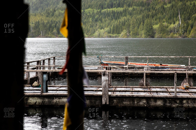 Tofino, British Columbia, Canada - May 1, 2020: Wooden boat dock on the coast