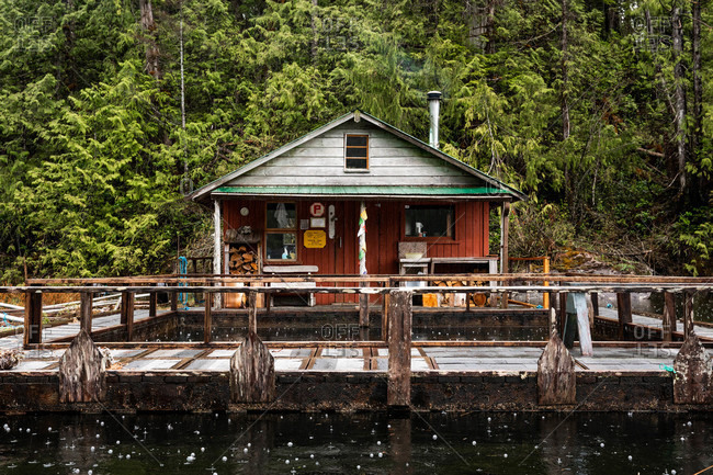 Tofino, British Columbia, Canada - May 2, 2020: Boat house and dock in rural Tofino