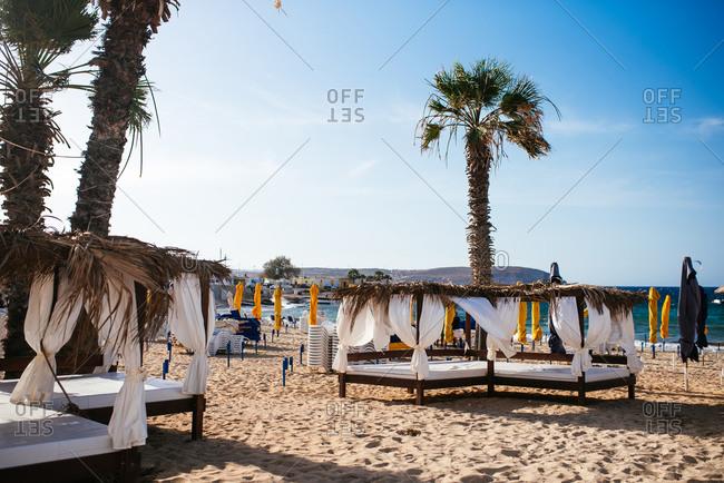 Fuengirola, Spain - June 19, 2016: Empty canopies in beach resort