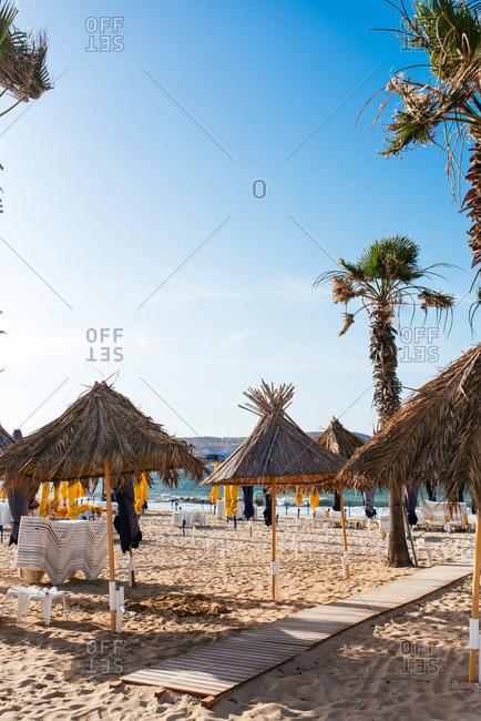 Fuengirola, Spain - June 19, 2016: Empty beach resort area