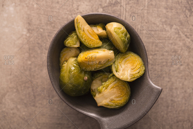Baked green brussels sprouts in a bowl