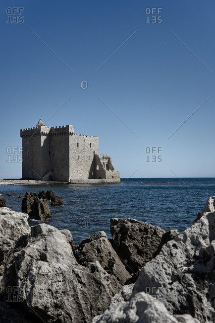 The fortified Monastary of Abbey on the island of Saint-Honorat. Along the coast of the mediterranean sea and the d'Azur in France. Just in front of the city of Cannes.