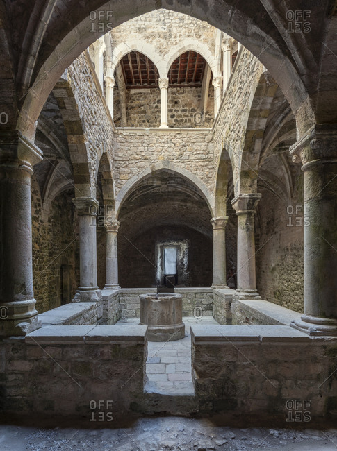 Interior with vaults in the fortified Monastary o Abbey on the island of Saint-Honorat. Along the coast of the mediterranean sea and the d'Azur in France. Just in front of the city of Cannes.