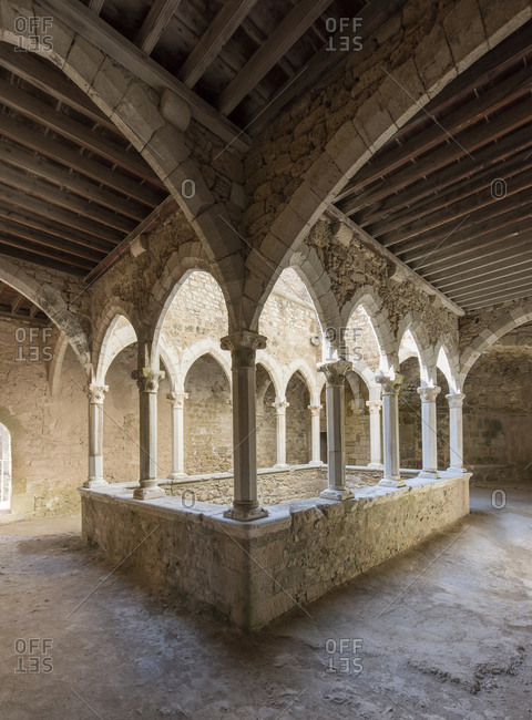 Interior with vaults in the fortified Monastary of Abbey on the island of Saint-Honorat. Along the coast of the mediterranean sea and the d'Azur in France. Just in front of the city of Cannes.