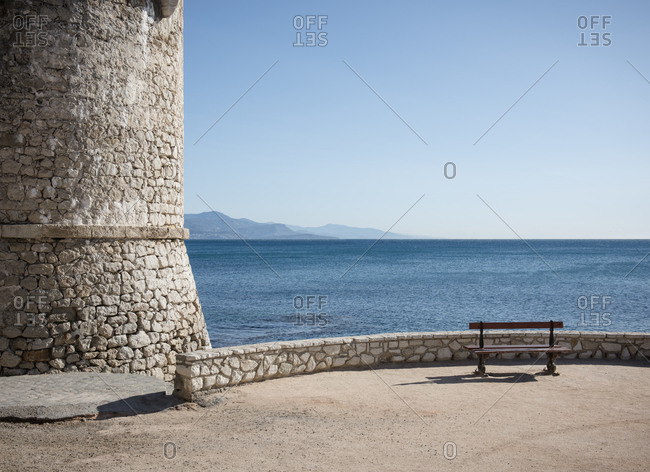 Seaview from the citywalls of Antibes. With boats on the horizon of the Mediterranean Sea and the d'Azur.