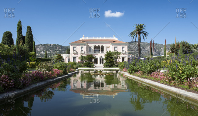 France - September 13, 2017: Villa Ephrussi de Rothschild on the Saint-Jean-Cap-Ferrat peninsula on the d'Azur in France. A Tuscan-style palazzo built in 1905 by Ephrussi de Rothschild.