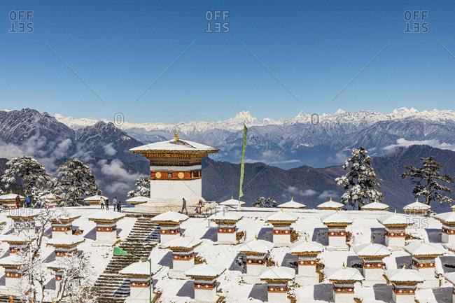 February 10, 2019: The 108 memorial chortens or stupas at Dochula Pass, Bhutan