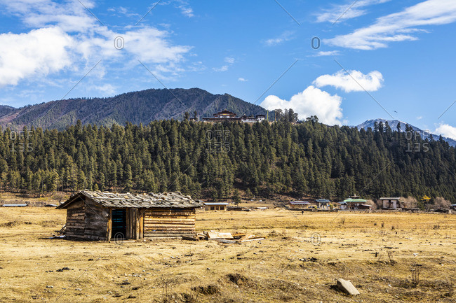 Phobjikha Valley (otherwise known as Gangtey), Bhutan with Gangteng Monastery in the background