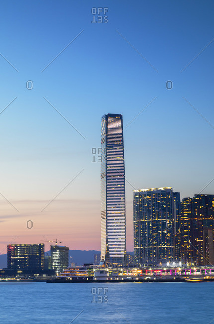 International Commerce Centre (ICC) at sunset, Hong Kong