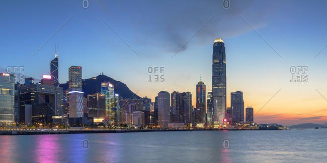 April 12, 2020: Skyline of Hong Kong Island at sunset, Hong Kong