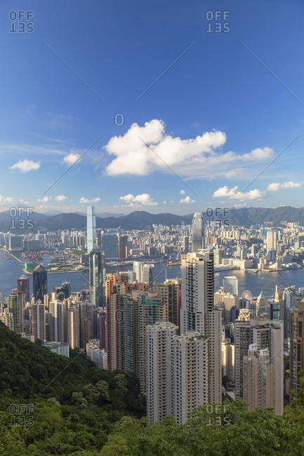 June 19, 2020: Skyline of Hong Kong Island and Kowloon, Hong Kong