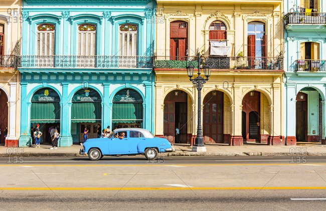 January 9, 2020: Classic car driving in Centro Habana Province, Havana, Cuba