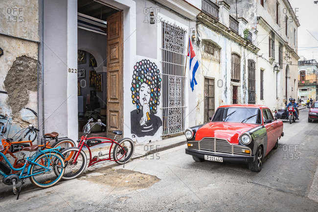 January 10, 2020: Classic car driving in La Habana Vieja (Old Town), Cuba, Havana