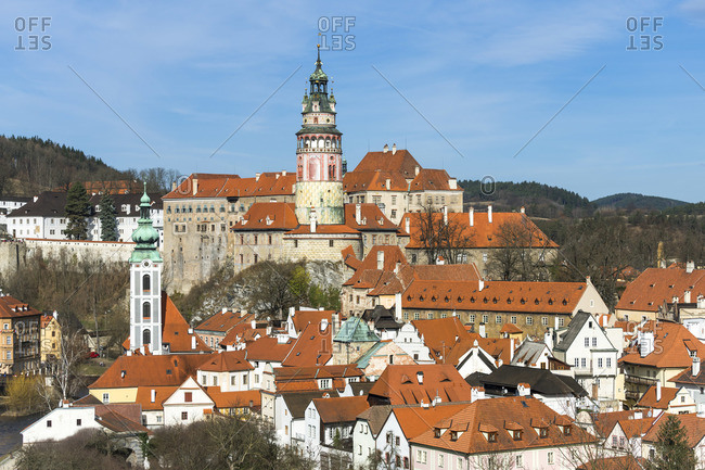 April 3, 2018: State Castle and Chateau Cesky Krumlov in town, UNESCO, Cesky Krumlov, South Bohemian Region, Czech Republic