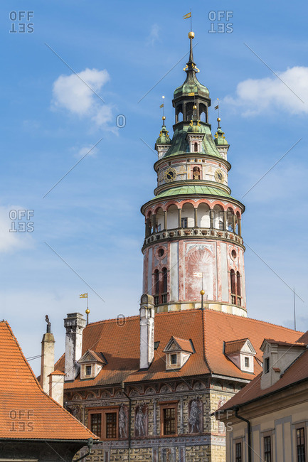 State Castle And Chateau Cesky Krumlov tower amidst blue sky, UNESCO, Cesky Krumlov, South Bohemian Region, Czech Republic