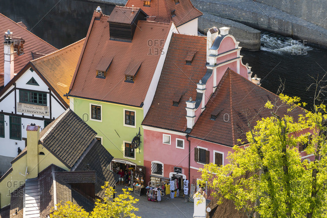 September 18, 2019: Detail of colorful houses, Cesky Krumlov, South Bohemian Region, Czech Republic