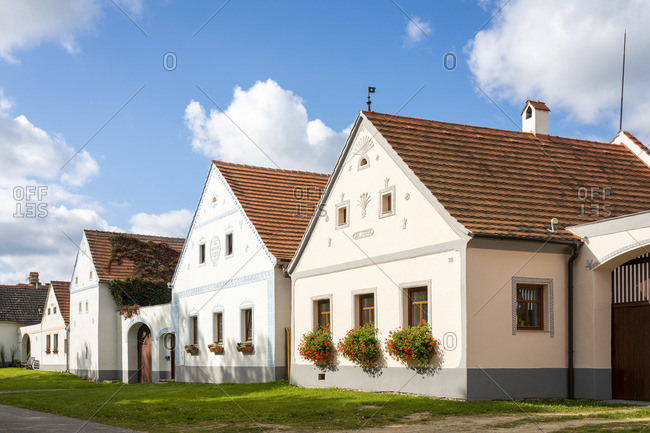 September 19, 2019: Historical houses at Holasovice Historical Village Reservation. They represent rural baroque style, UNESCO, Holasovice, South Bohemian Region, Czech Republic