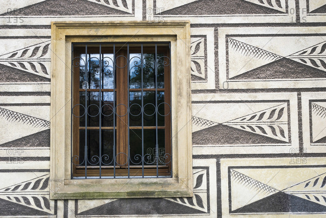 Detail of window and facade of Schwarzenberg Palace, Prague, Bohemia, Czech Republic