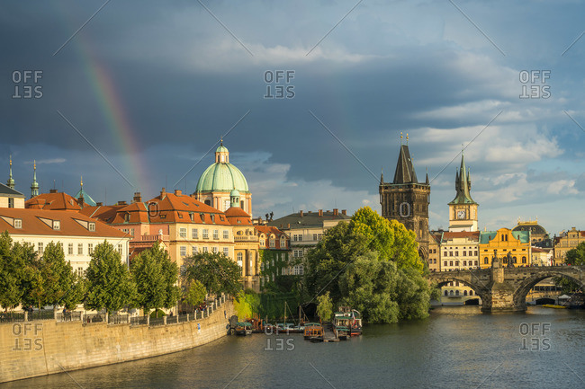 June 26, 2018: Rainbow by Charles bridge in spring, Prague, Bohemia, Czech Republic