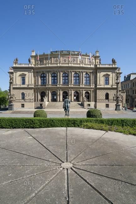 April 21, 2020: Antonin Dvorak statue in front of Rudolfinum concert hall, Jan Palach Square, Old Town of Prague, Prague, Bohemia, Czech Republic