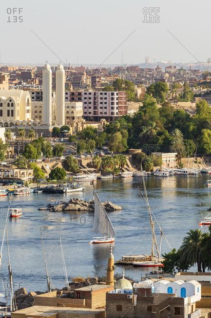 Felucca boats on the Nile River, Aswan, Upper Egypt, Egypt, Africa