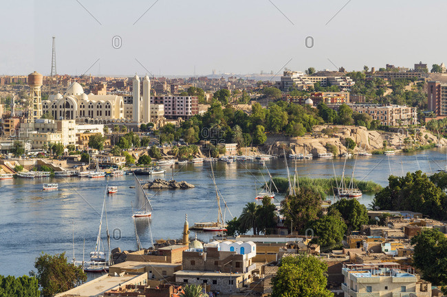July 12, 2019: Felucca boats on the Nile River, Aswan, Upper Egypt, Egypt, Africa