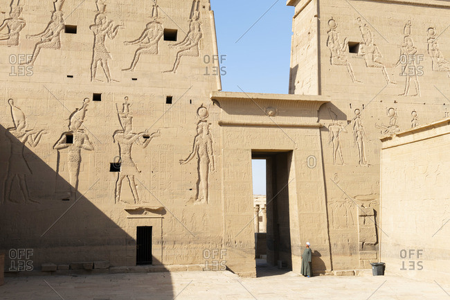 July 11, 2019: Temple of Philae on an island in Lake Nasser, Nile River, Aswan, Egypt, Africa