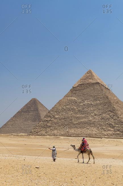 Camel rides at the Pyramids of Giza, Giza, Cairo, Egypt