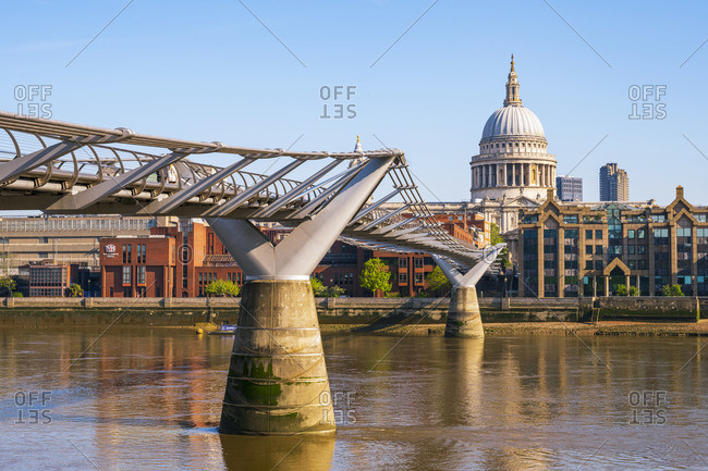 April 26, 2020: UK, London, St. Paul's Cathedral and Millennium Bridge over River Thames