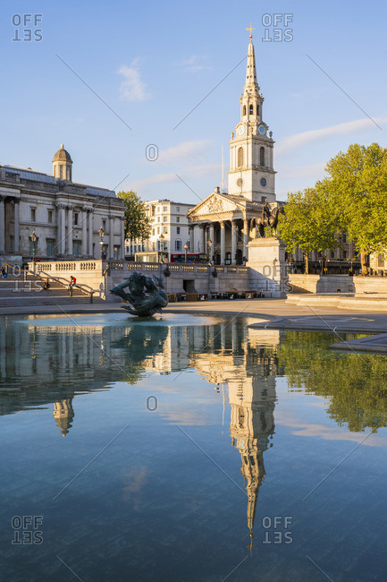 April 26, 2020: National Gallery and St Martin in the Fields church in Trafalgar Square, London, England
