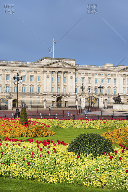 United Kingdom, England, London, Buckingham Palace, facade of the palace in Spring showing the flower gardens and the Victoria Memorial