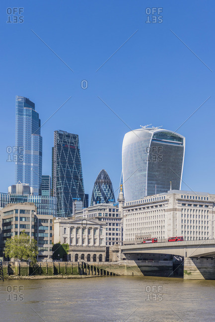 City of London and the River Thames, London, UK