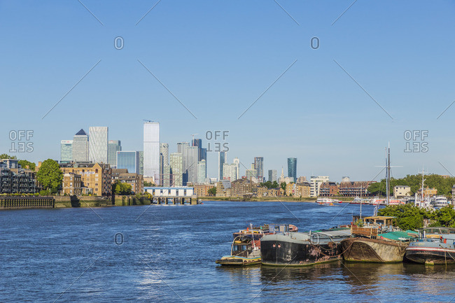 June 1, 2020: Canary Wharf and River Thames, London, UK