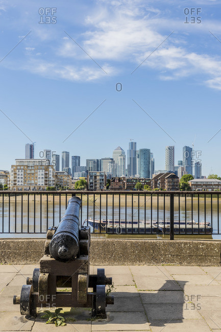 Canary Wharf and River Thames, London, UK