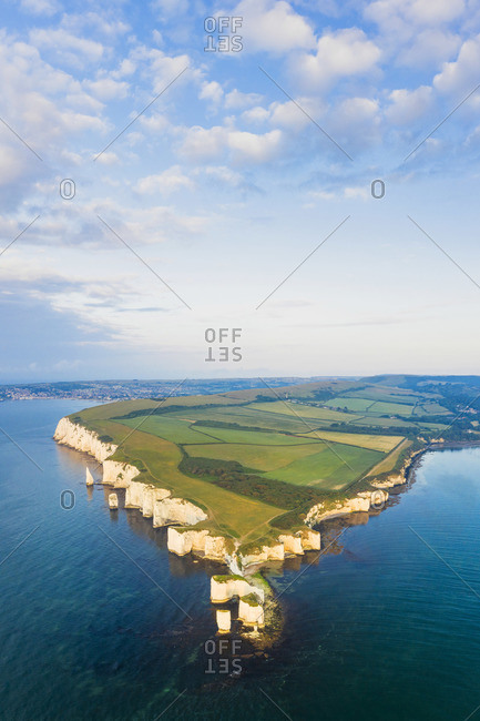 Aerial view of Old Harry Rocks, Jurassic coast, Swanage, Isle of Purbeck, Dorset, England, UK