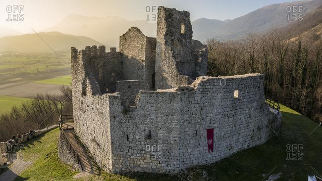 Top view of Toppo's castle, Toppo, Friuli-Venezia Giulia, Italy