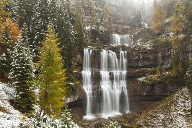 Dolomiti of Brenta, Natural Park of Adamello-Brenta, Vallesinell waterfalls, Trento, Trentino Alto Adige, Italy,