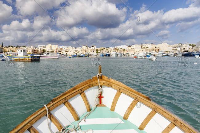 October 29, 2017: Marsaxlokk, Malta, famous for its colorful fishing boats called Iuzzu