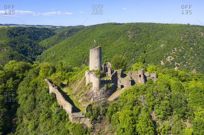 Aerial view on the Winneburg castle near Cochem, Mosel valley, Eifel, Rhineland-Palatinate, Germany