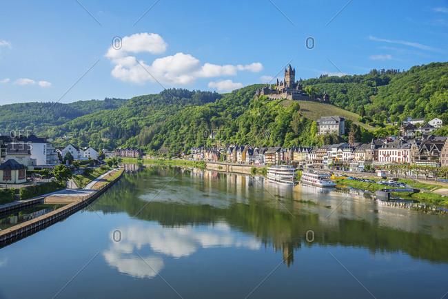 May 17, 2020: Morning view on Cochem, Mosel Valley, Eifel, Rhineland-Palatinate, Germany