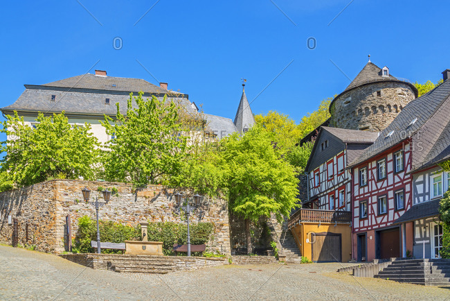 May 7, 2020: Half-timbered houses with Schinderhannes tower at Herrstein, Hunsruck, Rhineland-Palatinate, Germany