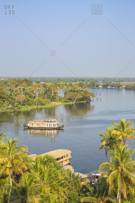 India, Kerala, Alappuzha (Alleppey), Traditional houseboats on backwaters