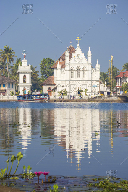 January 29, 2020: India, Kerala, Alappuzha (Alleppey), Alappuzha (Alleppey) backwaters, St. Mary Forane Church