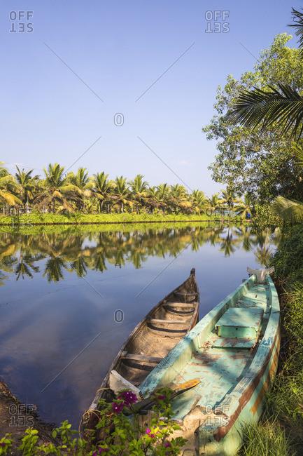 India, Kerala, Kollam, Munroe Island, Dug out canoes